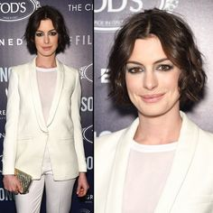 Anne Hathaway with 2015's hot chin length bob styled fro the red carpet.