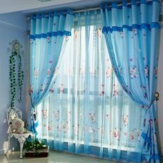Sheer Blue Curtain Design with Cartoon Characters