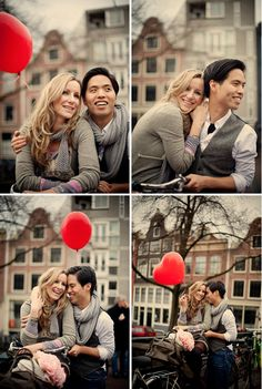 Engagement session done in the city of Amsterdam Photo's taken by: Jennifer Hejna #balloon #heart