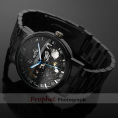 Black skeleton mechanical watch for men 5 colors (WWN005) on Etsy, $29.99