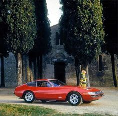 A beautiful photo of a vintage Ferrari taken in Italy in the '60s. This is a 1968 365 GT Daytona.