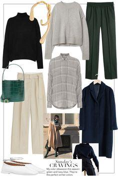 teetharejade Sunday's Cravings: Green and Navy blue Work Fashion, Curvy Fashion, Urban Fashion, Fashion Outfits, Fashion Top, Mode Dope, Desi, Paris Mode, Fall Capsule Wardrobe