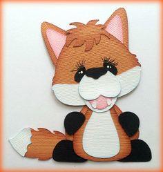 PREMADE  OUTDOOR ANIMAL FOX STANDING PAPER PIECING  MY TEAR BEARS KIRA  #Handmade