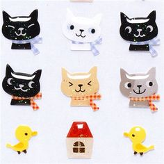 kawaii glitter Epoxy stickers with cat heads & chicks