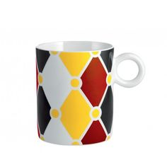 Mug in decorated bone china, Marcel Wanders brings the show to town with the alessi circus collection Circus Characters, Alessi, Gift Certificates, Bone China, Color Patterns, Dinnerware, Branding Design, Coffee Mugs, Tableware