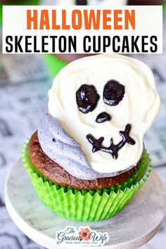Spooky but fun Skeleton Cupcakes with chocolate skeletons on top of your favorite cupcakes are a perfect easy Halloween treat for kids! Are you gearing up for Halloween yet? By now, I usually have my house decked out in fall leaves and cinnamon candles with some spooky candlesticks and spiders thrown in until Halloween, but this year… Not so much. | The Gracious Wife @thegraciouswife #halloweencupcakes #easyhalloweencupcakes #halloweentreats #kidshalloweenparty #halloweensnacks #thegraciou