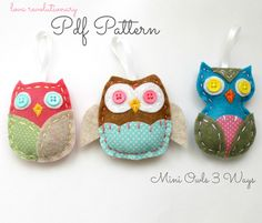 PDF Pattern Felt Owl Softie Ornaments Mini 3 Ways Brooch Pin DIY Tutorial Crafts.