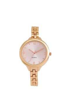 This rose gold round bracelet watch is so dainty.