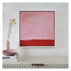 """West Elm Framed Print, Red on Pink, 24"""" X 24"""" ($127) ❤ liked on Polyvore featuring home, home decor, wall art, abstract wall art, pink flamingo wall art, abstract canvas wall art, red home accessories and pink home decor"""