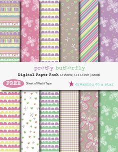 Pretty Butterfly Digital Scrapbook Paper Pack with FREE Washi Tape by DreamingOnAStar, $4.20