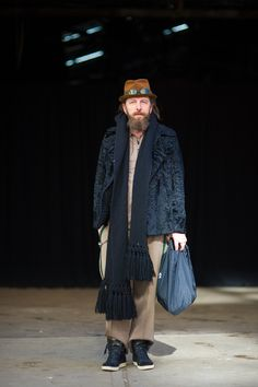 An Unknown Quantity | New York Fashion Street Style Blog by Wataru Bob Shimosato | ニューヨークストリートスナップ: #436 Roberto Lorenzi at Diesel Black Gold Show, NYFW, New York.