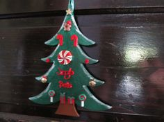 Wood Christmas Tree Wall Hanging by MesheleCrafts on Etsy