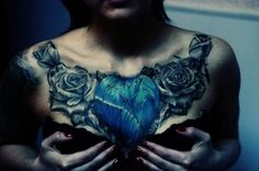 Awesome chest piece - blue heart shaped rose. #tattoo #tattoos #ink #inked