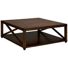 Vanguard Furniture, Coffee Tables, Elis Cocktail Table in Sussex, Brown, Wood, Square, Dark wood, Mid-century