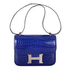 HERMES CONSTANCE CROCODILE BLUE ELECTRIC BAG 23CM STUNNER ❤ liked on Polyvore featuring bags, handbags, hand bags, crocodile handbags, croco handbag, handbag purse and croc handbags