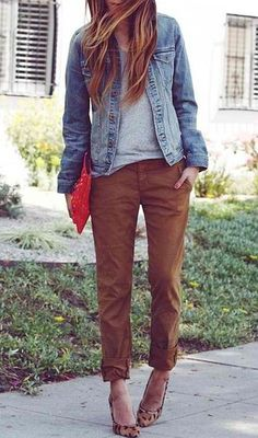 Chinos often get a bad reputation for being stodgy and boring, which is why we occasionally forget how rad they look when styled with the right pieces. Make sure yours are a tad slouchy (and cuffed), then add effortless staples like a worn denim jacket, a comfy tee, and an eye-catching pair of print pumps.