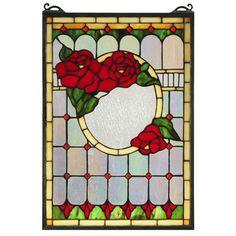 Meyda Tiffany Morgan Rose Stained Glass Window