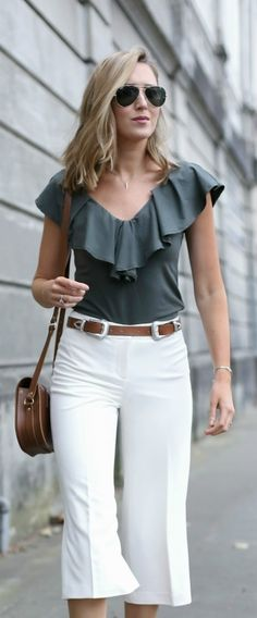 olive ruffle top, ivory culottes, brown double buckle statement belt, brown saddle bag, aviator sunglasses + loose waves hairstyle {anthropologie, whbm, b-low the belt, cambridge satchel, ray-ban}