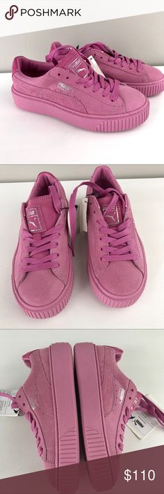 Puma NEW basket platform reset sneaker suede pink Puma NEW womens Basket Platform Reset suede sneakers 7 prism pink  363313 02 A women's-only silhouette, it boasts a thick platform sole, ridged tooling, and plenty of edge. It's a gamechanger of a sneaker...for women who are ready to change the game.  Suede upper Lace closure for a snug fit Platform rubber outsole with ridged tooling at toe PUMA Formstrip PUMA Basket callout at lateral side PUMA Logo Label at tongue  Brand new with tags…