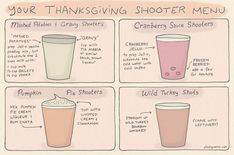 Happy drinksgiving! #thanksgiving #shooters #shooterrecipes #fallshooters #holidayshooters #holidayshots #drinksgiving #wildturkey Cranberry Jello, Cranberry Sauce, Shooters Alcohol, Shooter Recipes, Potato Gravy, Strong Drinks, Brew Pub, Holiday Drinks, Yummy Drinks