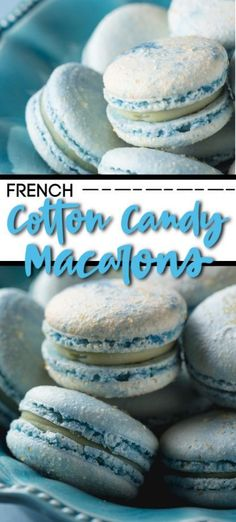 Blue Cotton Candy French Macaron Cookies in a blue bowl on a blue background.