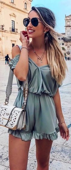 #Summer #Outfits / Green Playsuit