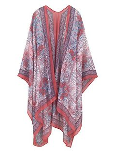 4cb5f4f5fb4e5 Moss Rose Women's Beach Cover up Swimsuit Kimono Cardigan with Bohemian  Floral Print