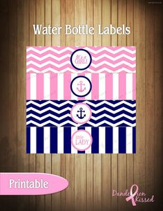 Pink Blue Anchor Nautical It's A Girl Baby by DandelionKissed, $4.00