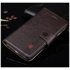 Luxury Head Layer Cowhide Genuine Leather Flip Stand Case for iPhone 6 - Coffee US$20.69