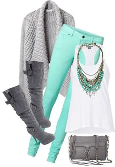 Love the mint green and deep gray<3