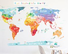 World map solid banner wall decal by thelovelywall on etsy baby our incredible world die cut world map wall decal thelovelywall gumiabroncs Image collections