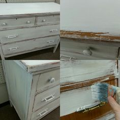Chest of drawers painted with Cotton White Farmhouse Paint.