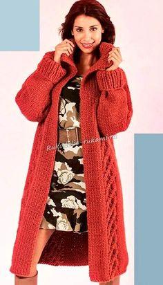 Женское стильное пальто спицами