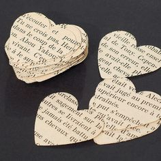 This is a collection of 100 hand punched, 1 1/4 hearts from a vintage French book that was falling apart. They would be perfect for table confetti, garland making, collage, assemblage, scrap booking, tags, card making and many other crafts. Please check out my other Etsy shop to see my selection of guitar string, steampunk, and found object jewelry: http://www.etsy.com/shop/tanith