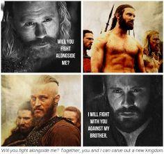 Vikings. Jarl Borg (Thorbjørn Harr) and Rollo (Clive Standen).