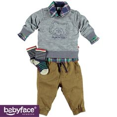 Part of the Babyface Newborn boys WINTER 2015 collection. In stores from August 2015. Sweater, Pants and Socks.