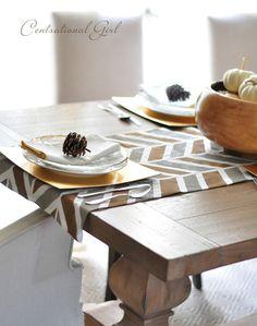Painted herringbone table runner via @centsationalgirl
