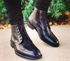 Handmade+Mens+Cap+toe+Leather+Dress+boots,+black+leather+Ankle+boots Condition+New+With+Box Shop+Black+ankle+boots Style+Ankle+boots Shoes+Upper+Material+Leather Interior+Soft+Leather+Lining+ Sole+Lea High Ankle Boots, Black Leather Ankle Boots, Leather And Lace, Leather Heels, Black Boots, Shoe Boots, Mens Shoes Boots, Mens Boots Style, Mens High Boots