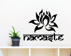 Wall Decal Indian Yoga Namaste Words Lotus Flower by CozyDecal