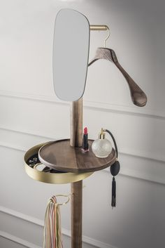 GALAN/VALET STAND W Solid walnut with polished brass detail, Toscanini hanger and Emperador marble