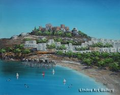 Lindos Blue Sky and Acropolis Oil Painting