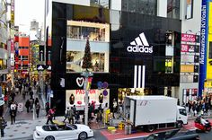 Opening day at the new Adidas store in the Shibuya area of Tokyo, Japan.     shoes