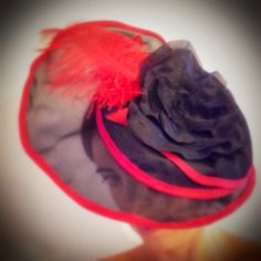 Black and Red Headwrap by Laladiva. Red feather, black rose. Hair Accessories Collections 2013. http://complementoslaladiva.com/