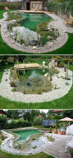 garten teich 17 Family Natural Swimming Pools You Want To Jump Into Immediately Proud Home Decor Sloped Garden, Garden Pool, Backyard Ponds, Garden Bridge, Natural Swimming Ponds, Swimming Pools, Natural Pools, Lap Pools, Indoor Pools