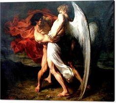 Jacob que Wrestling com o anjo impressão em tela que caracteriza a pintura Jacob…