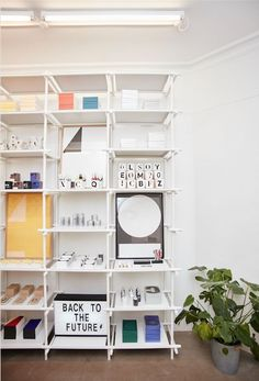The Stick System modular shelving system from Menu in Denmark. Versatile, adaptable steel shelving you can structure to fit your needs. Here it's shown at the Playtype typography store in Copenhagen.