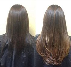 Before and after using Great Lengths extensions by Liza at Escape Salon Claremont.