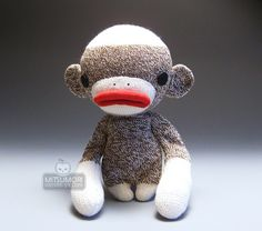 This is Fugu. Traditional sock monkey in urban style. ^3^ ~<3  + side view + back view  ............................................................................... Nasseh-Ya Moderno Series 2008 21 cm (8.5 inches) [ Textile ] Rockford red heel socks, tricot brush lips