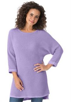 Plus Size Waffle knit pullover with dolman sleeves