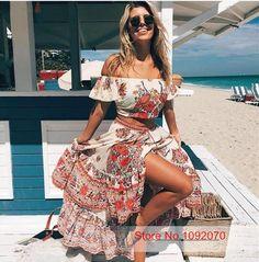 Barato S mulheres Saia de Férias Favorito Street Style Hotel Paradiso/Top conjunto Pavões e Estampa floral Plissado…